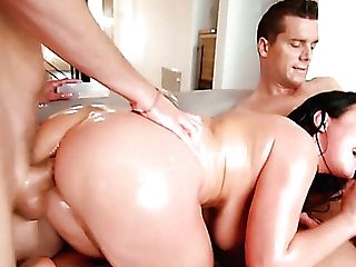 After Being Immensely Well-lubed Huge-boobed Sexpot Angela Milky Takes Dual Foray