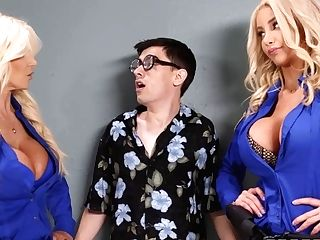 Nerdy Man Fucked Brittany Andrews & Nicolette Shea
