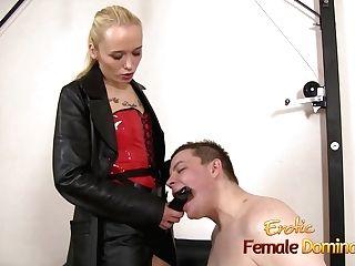 Servant Deepthroats His Mistress Big Strapon