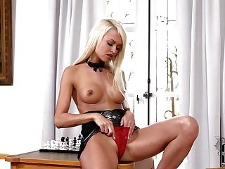 Long Legged Euro Blonde Lena Love Poses Bare-chested In Slightly There
