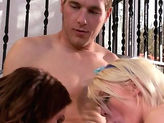 Big Titted Cougar Brown-haired Diamond Foxxx And Blonde Haired Babysitter
