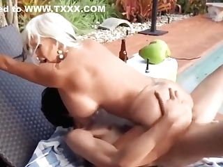 Ricky Spanish Fucks Sally D'angelo's Matures Cootchie By The Pool