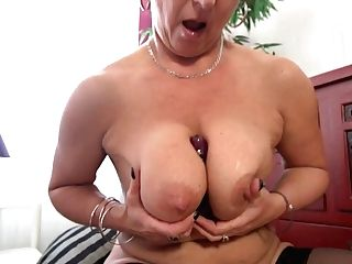 Czech Cougar Plays With Her Fave Faux-cock