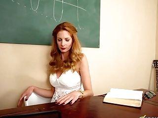 Sexy Math Schoolteacher Is Flashing Cunny Upskirt Before A Hot Striptease At The Blackboard