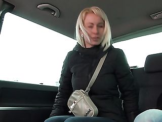 Sniggering Buxomy Blonde Cockslut Licky Is Profoundly Banged Right In The Car