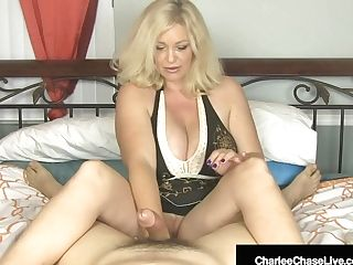 Big-chested Blonde Cougar Charlee Chase Strokes Your Stiffy In Sofa!