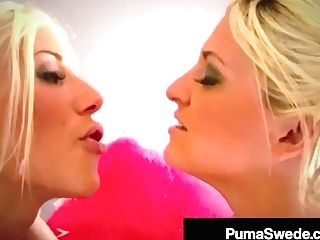 Big-titted Blonde Bombshells Puma Swede & Bobbi Eden Tongue Fuck!