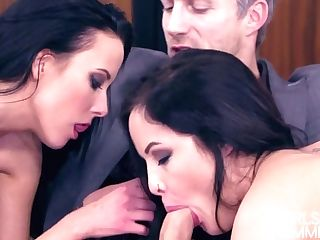 Two Horny Honies Give A Rimjob And Oral Pleasure To One Gorgeous Beau