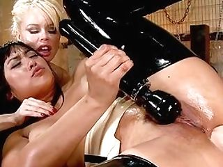 Crazy Female Domination For The Lesbos During Their Rough Trio