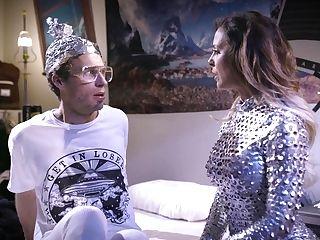 Futuristic Cougar Cherie Deville Fucks Spread Butt Hole Of Bore Dude In Glasses