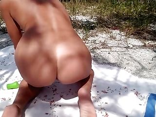 Matures Playing With Her Fucktoys On A Public Beach