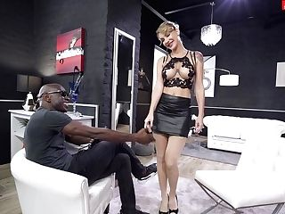 Huge-titted Blonde Doll Plays Obedient In The Face Of A Big Black Cock