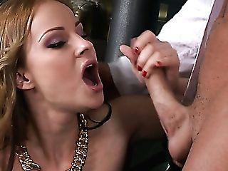 Blonde Harlot Abbie Cat Deepthroats Dude's Hard Dick In The Bar