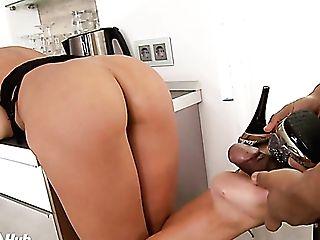 Black Horny Stud Rear End Fucks Sexy Long-legged Stunner Larissa Dee At Kitchen Hard