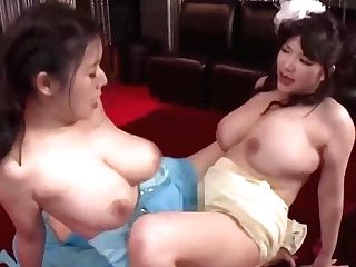 Threesome Japanese Sapphic Orgy With Huge-titted Moms - Big Naturals, Scissoring
