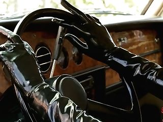 Spandex Lucy In Black Spandex Garment With Mask Loves Driving