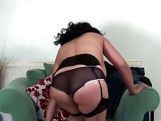 Hot Matures Dark-haired In Erotic, Black Stockings Is Gently Caressing Her Smoothly-shaven Twat And Groaning