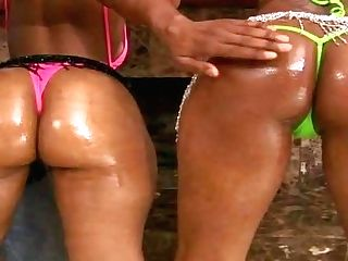 Cali Sunshyne And Belle Are Two Chocolate Skinned Bathing Suit-clad Chicks