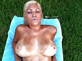 Jazmyn Is A Curvy Blonde With Suntan Lines. She Shows