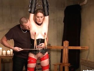 Enslaved Blonde Gets Clipped And Toughly Fucked